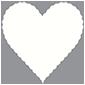 White Pearl Scallop Heart Card 4 Inch - 25/Pk